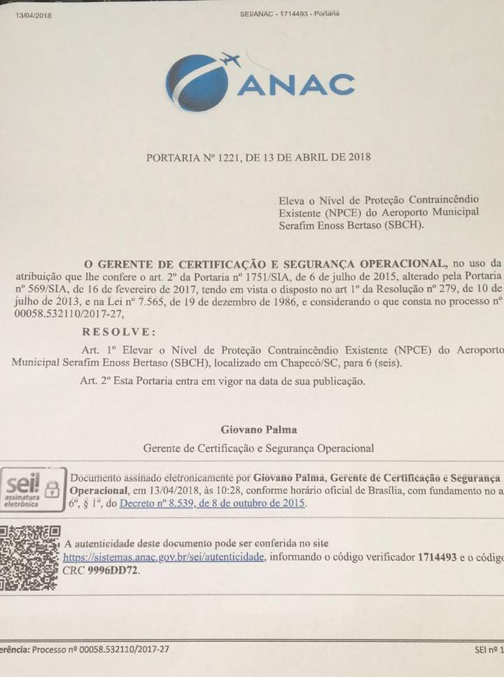 DI Online - ANAC confirma elevação de categoria do aeroporto de Chapecó 90c15509d50